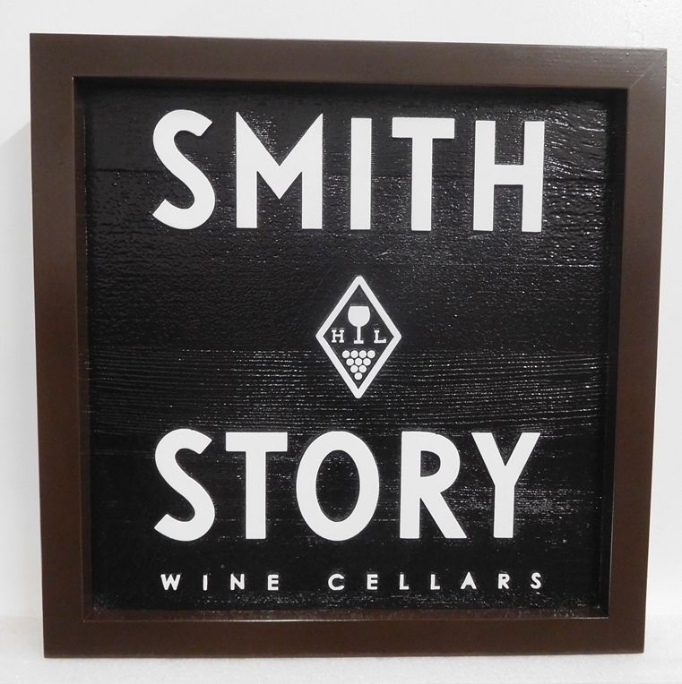 "R27081 - Carved Cedar Sign for  ""Smith Story Wine Cellars""  with  2.5-D Raised  Logo,  Text and  Border."