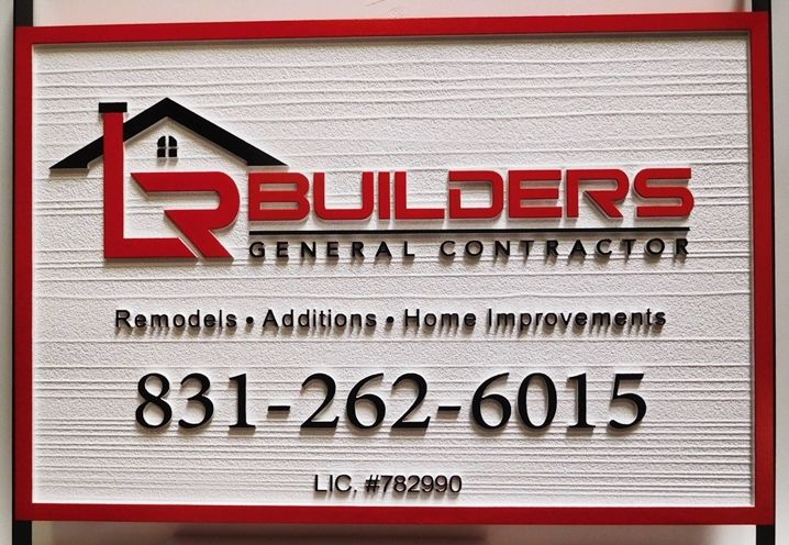 """S28093 - Large Carved  HDU Commercial Sign made for the """"Builder-General Contractor""""  Company, 2.5-D Artist-Painted"""