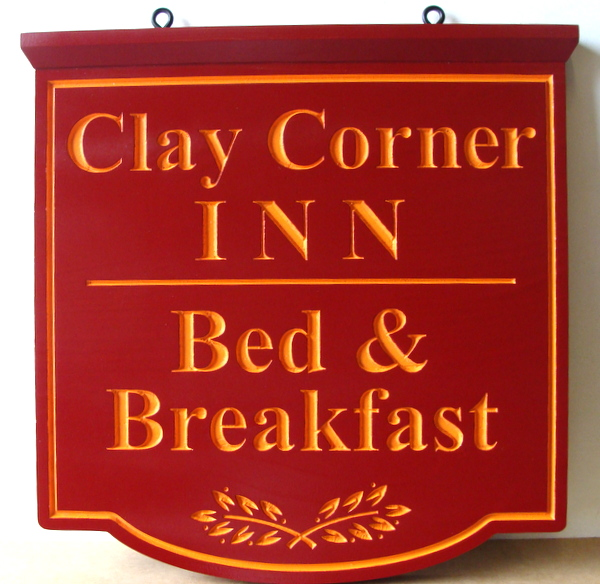 "T29047 - Engraved   HDU Hanging Sign for the ""Clay Corner Inn""  B&B"