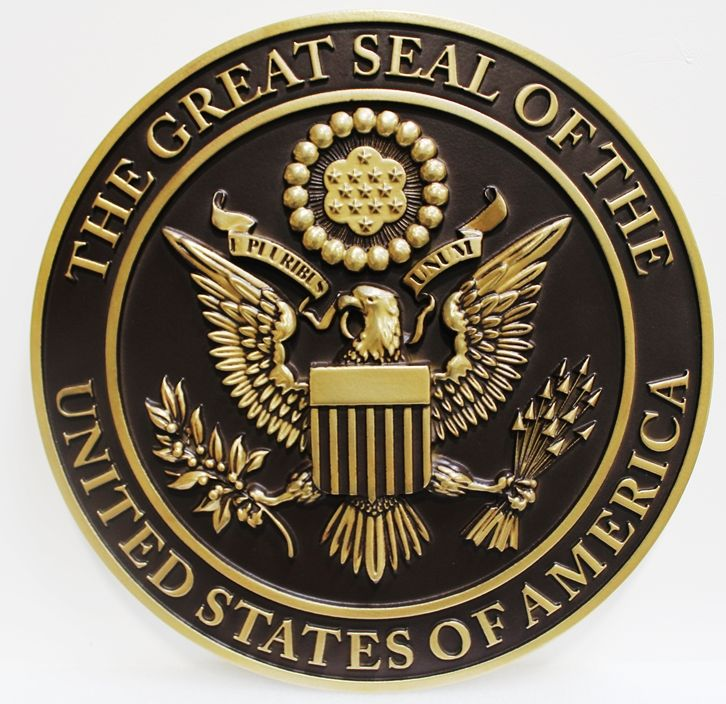 AP-1052 - Carved Plaque of the Great Seal of the United States, Metallic Brass Painted