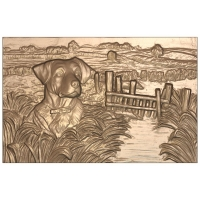 M22967 - 3D Carved Applique for Wood & HDU Signs and Plaques - Duck Hunting Scene with Retriever