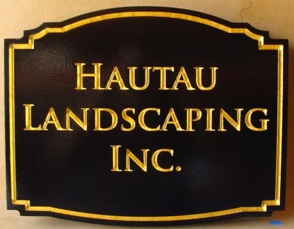 """SA28791 - Engraved Sign for """"Hautau Landscaping , Inc."""" with 24K Gold Leaf Gilded Letters and Border"""