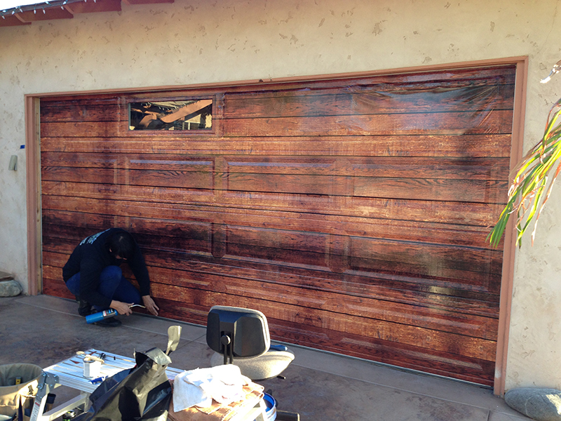 Garage Door Wrap In Progress & Wall wraps | Door wraps | Auto Wraps | Buena Park CA