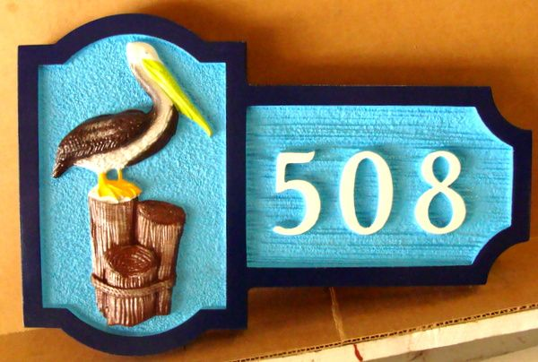 AG126 - Carved Address Number Sign, for Coast Residence, with 3-D Pelican Standing on Post