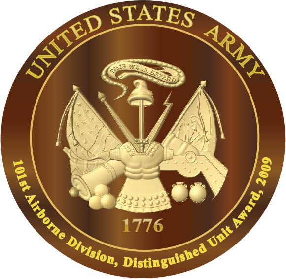 MP-1100 - Carved Plaque of the Great Seal of the US Army (USA), Gold Leaf Gilded on Mahogany