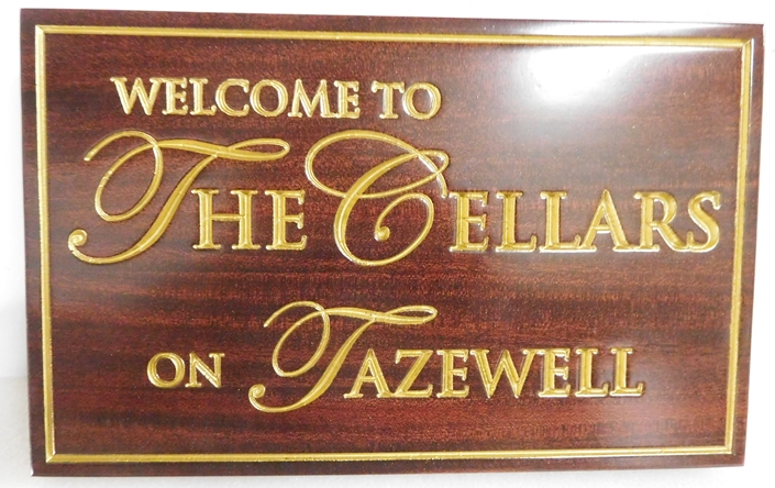 R27029 - Elegant African Mahogany Wall  Plaque for a Wine Cellar, with 24K Gold Leaf Gilded Text