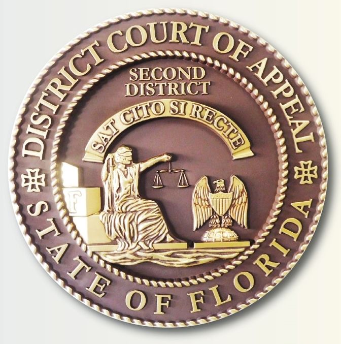 M7166 -  3D Polished Brass Wall Plaque for the Seal of the District Court of Appeals of the State of Florida