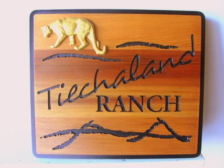 M22912 - Carved Cedar Wood Ranch Sign with Carved Mountain Lion (Cougar)
