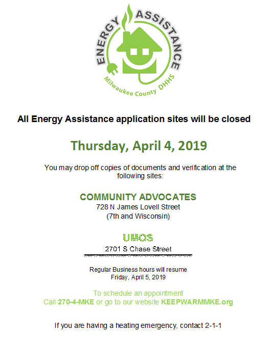 Energy Assistance Application Sites Closed April 4
