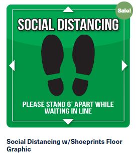 Social Distancing w/Shoeprints Floor Graphic