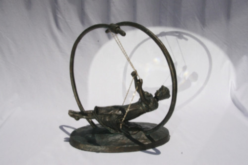 "Youth Recaptured: The Swing, Polymer Clay w/Faux Bronze finish, H 13.5"", L 8"", W 11.5"""