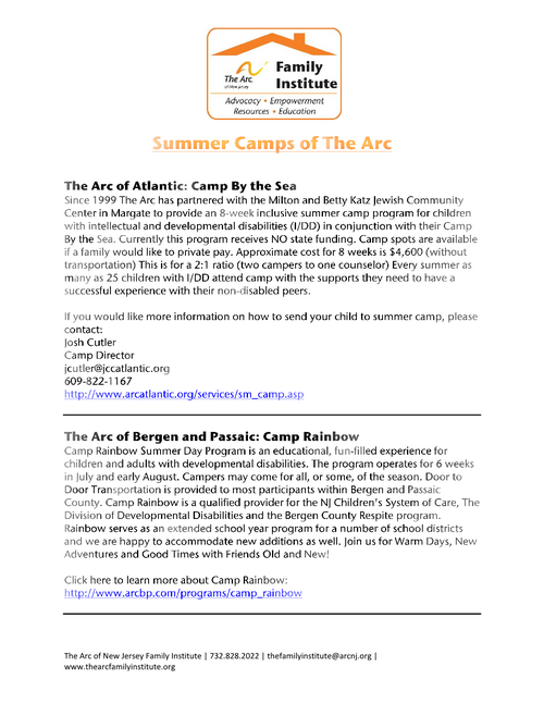 Summer Camps of The Arc