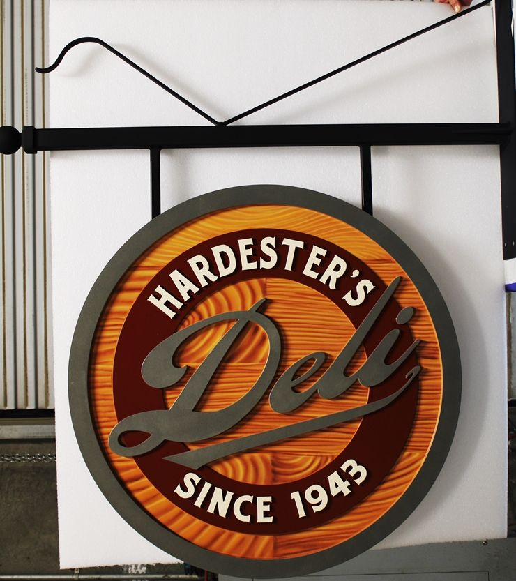 Q25572 - Carved HDU Overhead Sign for Hardester's Deli,  with Painted Faux Wood Grain as Artwork