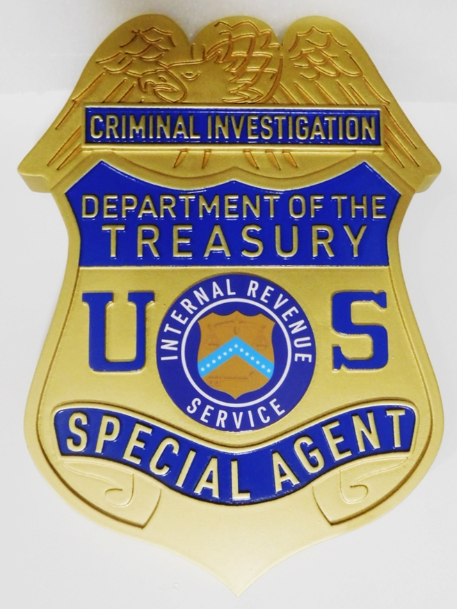 PP-1479 - Carved Plaque of the Badge of a Special Agent,  Internal Revenue Service Criminal Investigations, 2.5-D Artist-Painted