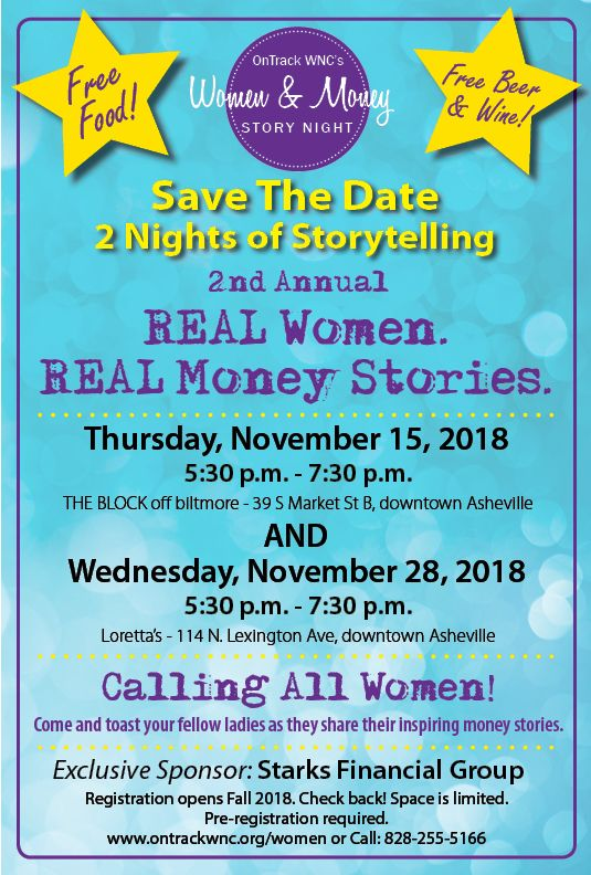 Save the Date:  REAL Women. REAL Money Stories. 2018