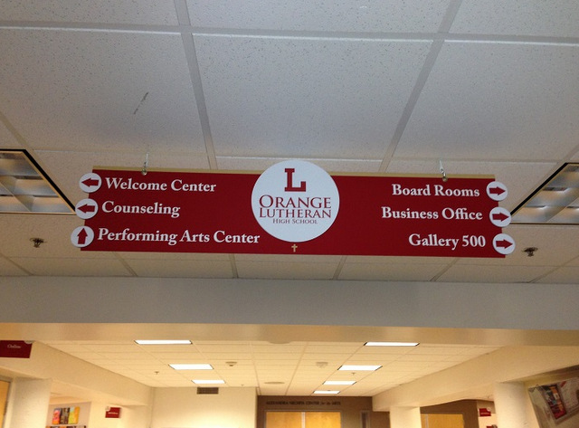 Interior wayfinding signs for schools Orange County