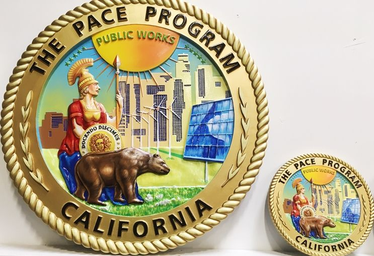 VP-1434- Two Carved Plaques of the Seal of the PACE Program  for California, 3-D Artist-Painted,