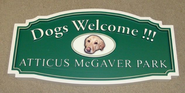"GA16512 - Design of HDU or Wood Sign for Dog Park, ""Dogs Welcome!!!"""