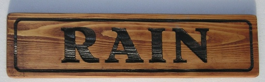 "M3802  - ""RAIN,"" Engraved Cedar Wood Horse Name for Stall (Gallery 24)"
