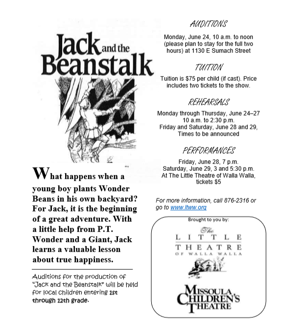 Auditions for Jack and the Beanstalk (Missoula Children's Theatre)