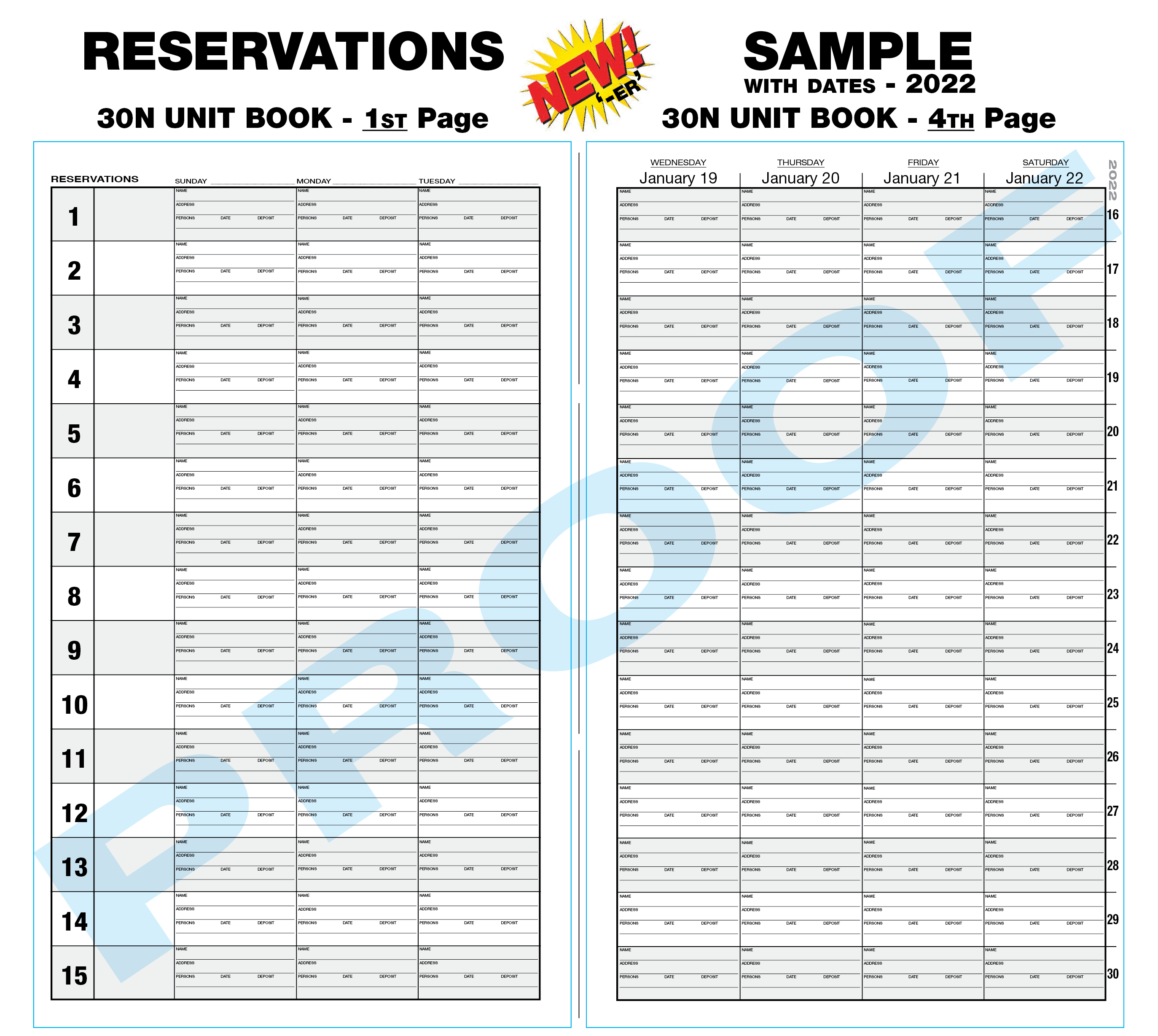 30N Reservation Book - blank or predated
