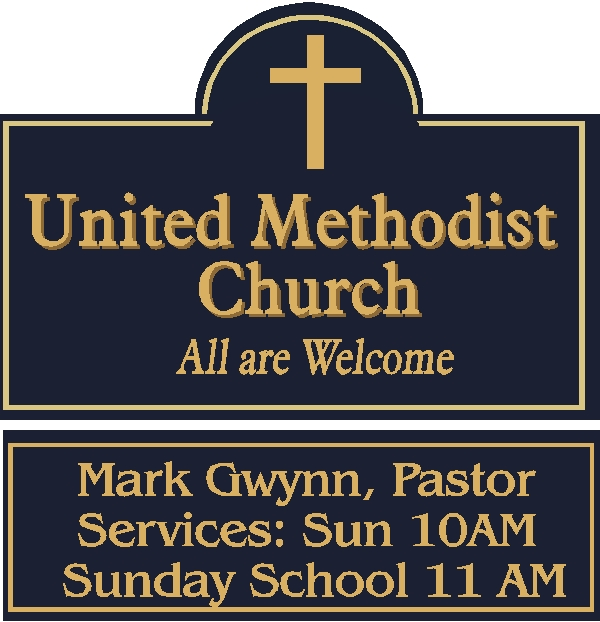 D13060 - Outdoor HDU Welcome Sign for United Methodist Church featuring Name of Minister and Time of Services