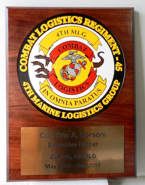 KP-2340 -  Carved Plaque of  the Insignia of the Combat Logistics Regiment,  Mahogany Wood with Personalized Brass Plate