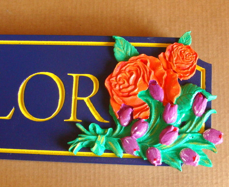 M2084 - Closeup of 3D Carved Flowers on a Retail Store Sign (Gallery 28A)