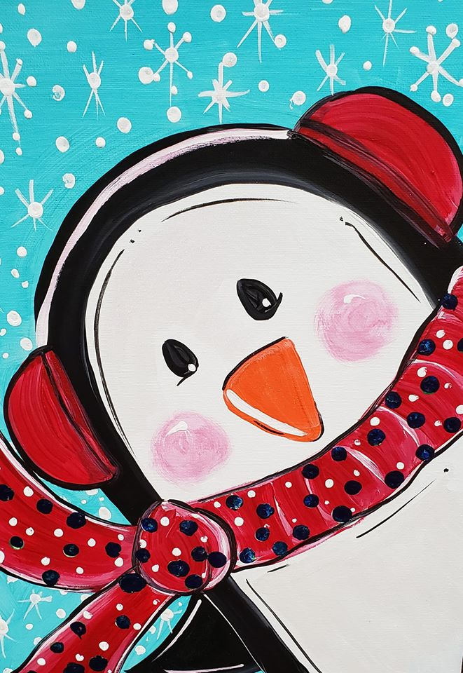 """Happy Penguin!"" Family Cookies & Canvas Class with Linda Anderson-Paine"