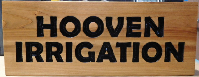 "SA28056 - Engraved and Stained Wooden Plaque for ""Hooven Irrigation"""