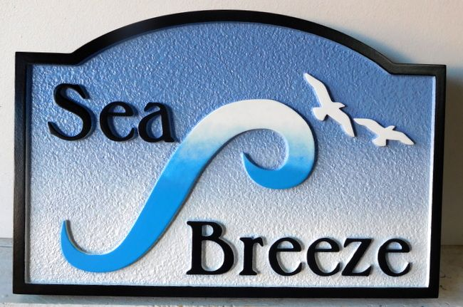 """L21636 - Beach House Sign """"Sea Breeze"""" with Stylized Wave and Seagulls"""