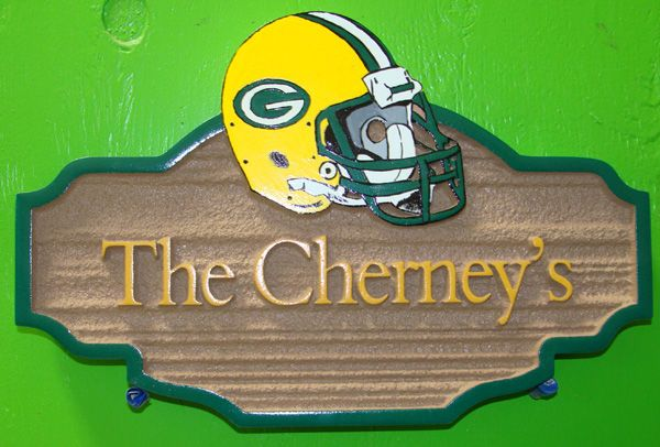 I18662 - Carved and Sandblasted Residence Name Sign, with NFL Helmet as Artwork