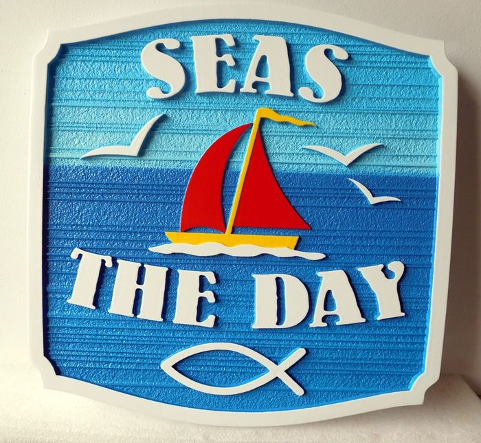 "L21320 -  Carved and Sandblasted Coastal Residence ""Seas the Day"", with Stylized Sailboat"