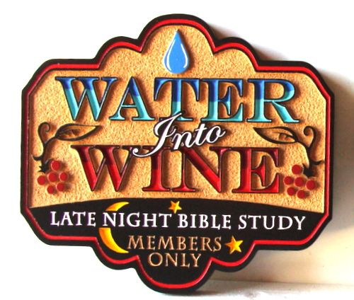 D13132 - Carved and Sandblasted HDU Wall Sign for Bible Study Group