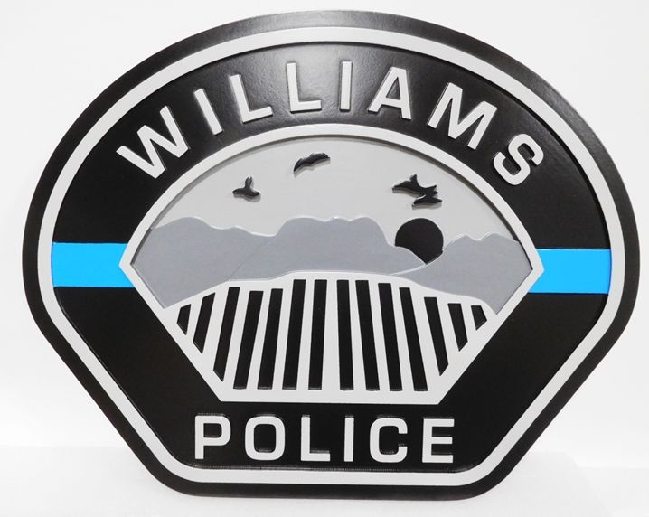 PP-2310 - Carved Plaque of the Shoulder Patch of the Williams Police, 2.5-D Artist-Painted