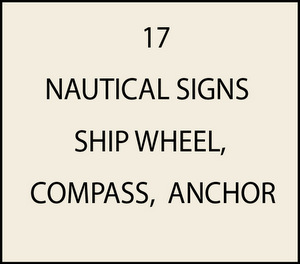 L21740 - Nautical signs (ship wheel, compass, anchor)