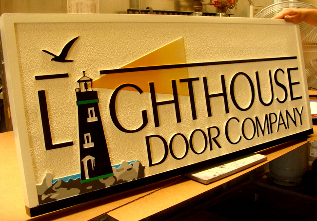 "S28066 - Attractive Retail Store Carved Sign for ""Lighhouse Door Company"",  with Lighthouse and Seagull as Artwork"