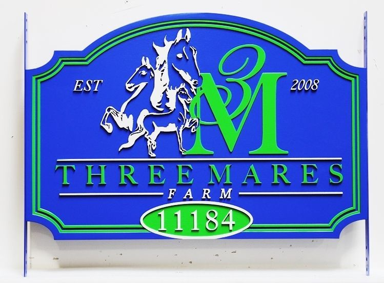 """P25171 - Carved Name and Address Sign for the """"Three Mares Farm """", with Three StylizedOutlines of  Horses, the Farm's Logo."""