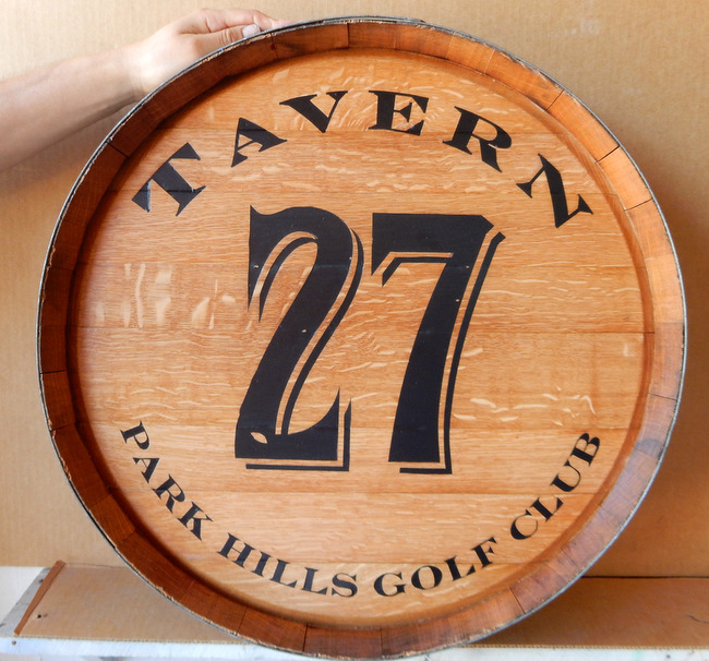 Y27564 - Engraved Oak Wine Barrel Head Sign for Tavern at Park Hills Country Club