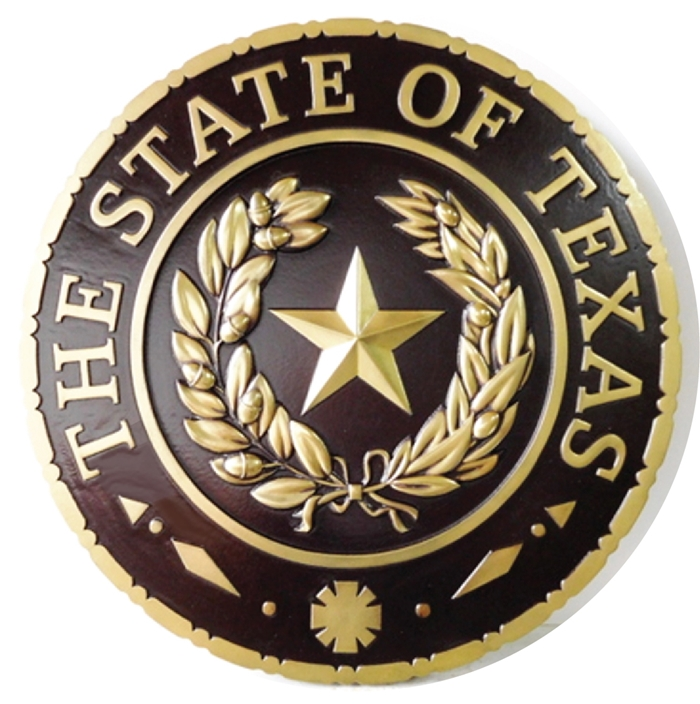 BP-1500 - Carved Plaque of the Great Seal of the State of Texas,  Brass Plated