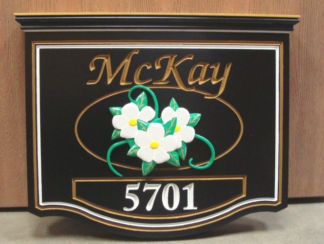 AG105 -  Beautiful Residence and Address Sign, with Carved 3-D Dogwood Flowers