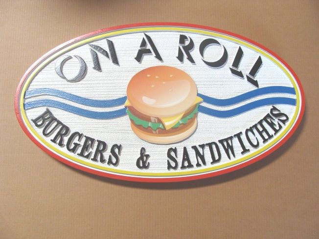 Q25510 -  Burger, Cafeteria Interior Hanging Sign