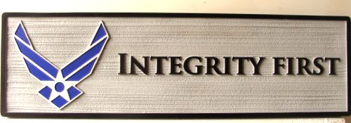 """V31677 - Motto Plaque for Air Force Special Operations Command, """"Integrity First"""", with USAF Wings"""
