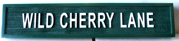 H17045 - Carved and Sandblasted Wood Grain HDU Street Name Sign, Wild Cherry Way