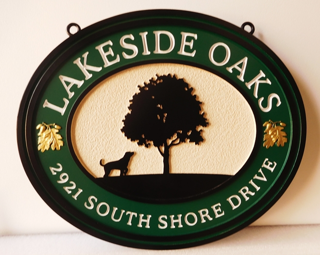 "I18301 - Carved 2.5-D Property Address and Name  Sign, for a Residence (""Lakeside Oaks""), with Tree and Dog  as Artwork"