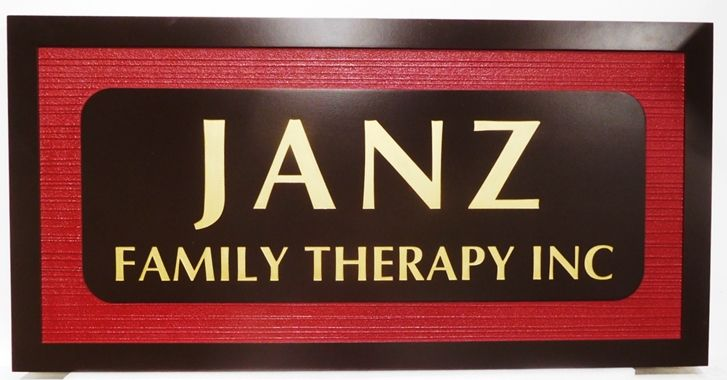 """B11257 - Carved and Sandblasted Wood Grain  Sign for """"Janz Family Therapy, Inc."""", 2.5-D Artist-Painted"""