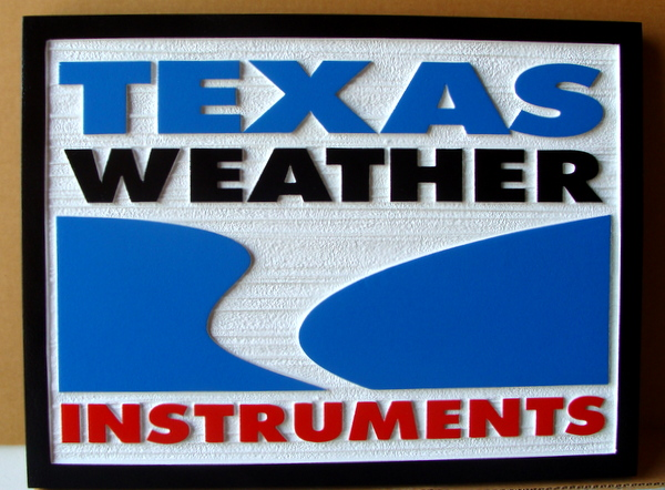 """SA28777 - Carved and Sandblasted  Wood Grain HDU Sign for """"Texas Weather Instruments"""""""
