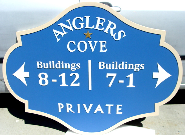"KA20853 - Carved HDU Building Number Address Sign for Seaside Condos  in ""Anglers Cove"""