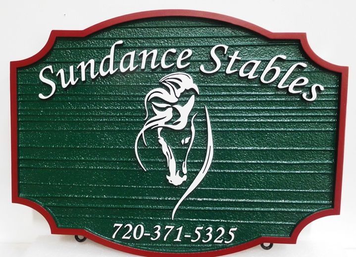 """P25177 -  Carved and Sandblasted Wood Grain HDU  Sign """"Sundance Stables"""", 2.5-D Raised Outline of Horse's Head as Artwork"""