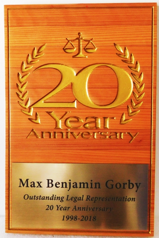A10936 - Carved, Cedar Wood Plaque with 24K Gold Leaf Design Marking Attorney's 20th year of Outstanding Legal Representation